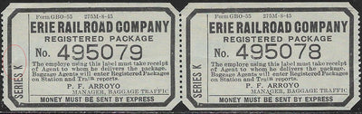 US - Cinderella - Erie Railroad Company Registered Package Labels - Left has Tear