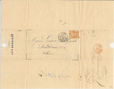 France 35 Folded Letter to Amsterdam, Holland 1868