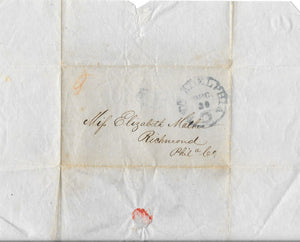 US Stampless Cover To Philadelphia, PA  Unknown Date