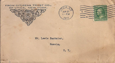 US 1¢ Washington/Franklin - Advertising Cover - Utica NY