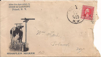 US 2¢ Washington/Franklin - Advertising Cover - Poland, NY- Milker