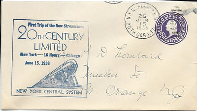 US Event Cover - 20th Century Limited NY to Chicago First Trip - June 15, 1938