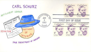 US 1847 FDC - Carl Schurz  - Great American - R.E. Charlton Cachet 20 of 30