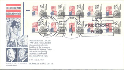 US 1896b FDC Aristocrat - Flag over Supreme Court - Booklet Pane