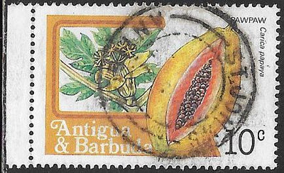 Antigua & Barbuda 712 Used - Pawpaw Fruit - Socked on the Nose