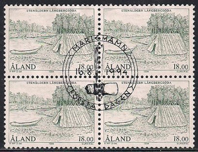 Aland 107 Used Block of 4 - CTO - Settlement