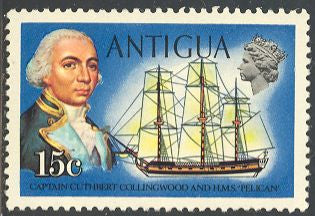 Antigua 249 Unused - Pencil Markings on Back - Captain Cuthbert Collingwood & Pelican
