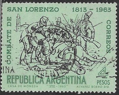 Argentina 749 Used - Battle of San Lorenzo Sesquicentennial - Socked on the Nose