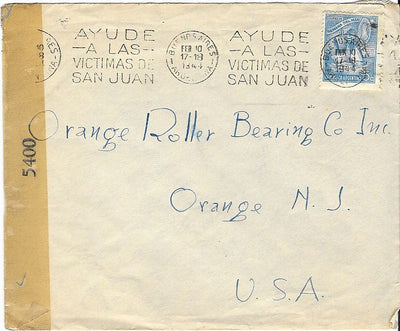 Argentina Cover to West Orange, NJ USA February 1944 - Censored