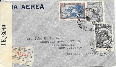 Argentina Cover to West Orange, NJ USA September 1942 - Censored