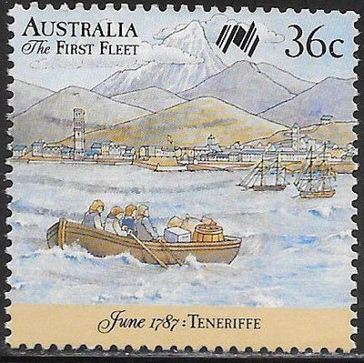 Australia 1024d Used - ‭First Fleet Leaving England - Longboats Heading from and to Fleet