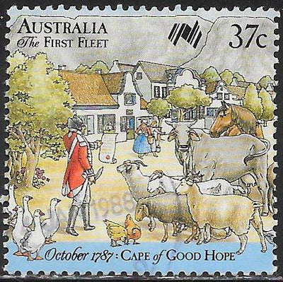Australia 1028a Used - ‭‭First Fleet arrives at Cape of Good Hope - British Officer Surveys Livestock & Supplies