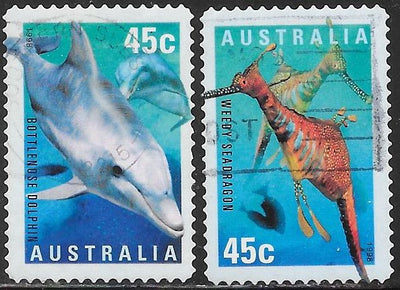 Australia 1708-1709 Used - The World Down Under - Bottlenose Dolphin & Weedy Seadragon