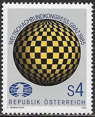 Austria 1323 MNH - ‭‭‭‭‭World Chess Federation Congress, Graz - Checkered Globe, Emblem