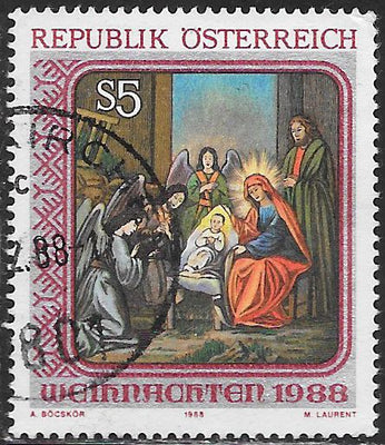 Austria 1446 Used - Christmas - ‭Nativity Painting from St. Barbara's Church