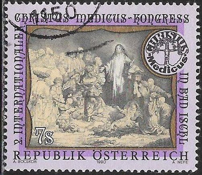 Austria 1507 Used - ‭‭2nd Intl. Christus Medicus Congress. Bad Ischl - ‭Christ Healing the Sick by Rembrandt