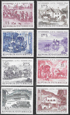 Austria 729-736 MNH - ‭‭15th UPU Congress, Vienna, May-June 1964 - The Post in Art