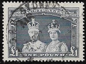 Australia 179 Used - George VI & Elizabeth - Socked on the Nose