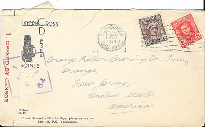 Australia Cover to Orange, NJ USA - February 1944 - Censored