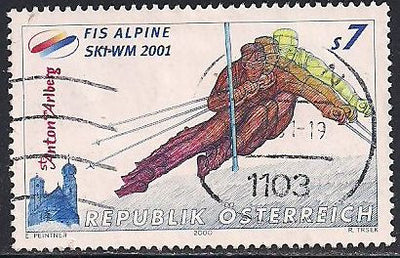 Austria 1834 Used - Skiing - Socked on the Nose