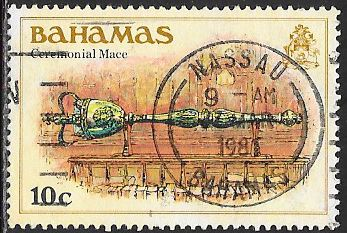 Bahamas 467 Used - ‭Columbus'  ‭Landing,  ‭1492  - ‭Ceremonial Mace - Socked on the Nose