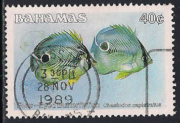 Bahamas 611 Used - Fish - ‭‭Four-Eyed Butterflyfish - Socked on the Nose