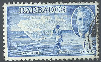 Barbados 220 Used - Fishing - George VI