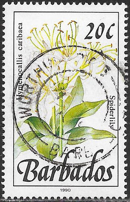 Barbados 756b Used - Flower - Spiderlilly - 1990