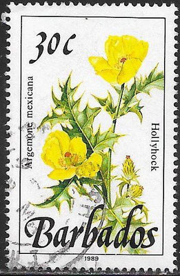 Barbados 758 Used - Flower -Hollyhock - 1989