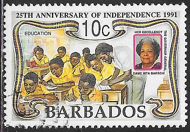 Barbados 812 Used - Independence 25th Anniversary -Dame Nita Barrow - Students in Classroom