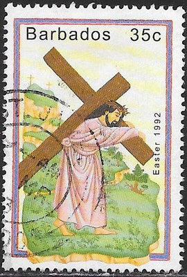 Barbados 818 Used - Easter - Christ Carrying Cross