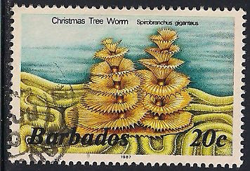 Barbados 645a Used - Christmas Tree Worm - 1987