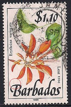 Barbados 765 Used - Flowers - Lent Tree - Crease
