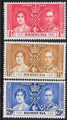 Bermuda 115-117 Unused/Hinged Hinge Remnant - George VI Coronation