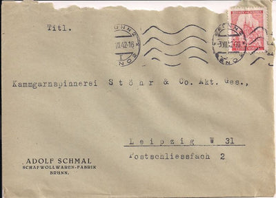 Bohemia & Moravia 52 Cover to Germany