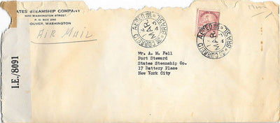 Brazil Cover to New York City USA - March 1943 Censored