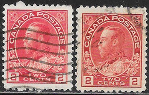 Canada 106-106a Used - George V - Color Varieties