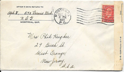 Canada Cover to West Orange, NJ USA - December 1940 - Censored