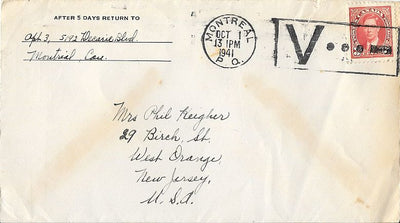 Canada Cover to West Orange, NJ USA - October 1941 - Montreal