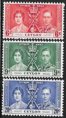 Ceylon 275-277 Unused/Hinged Hinge Remnant - George VI Coronation