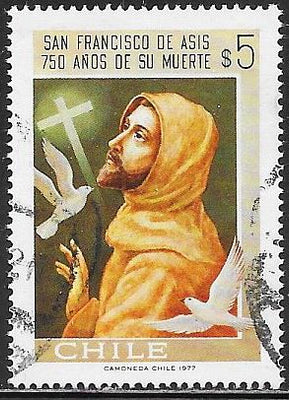 Chile 507 Used - Saint Francis, Birds & Cross