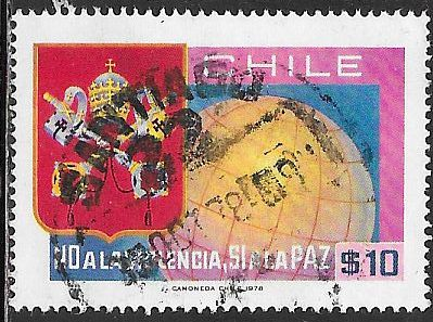 Chile 521 Used - World Peace Day - Papal Arms & Globe - Socked on the Nose
