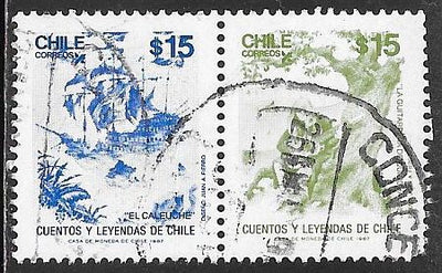 Chile 760b & 760a Used - Legends & Folktales - El Caleuche & The Guitarist