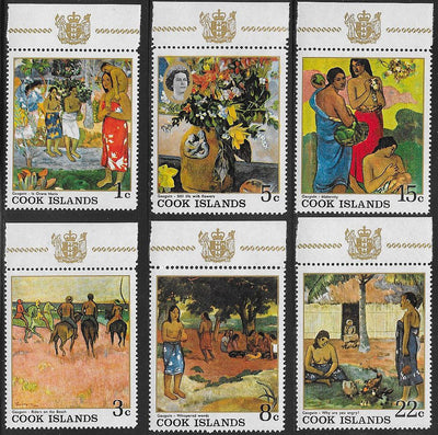 Cook Islands 221-226 MNH - Paintings by Eugène Henri Paul Gauguin