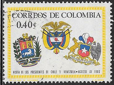 Colombia 762  Used - Arms of Venezuela, Columbia & Chile