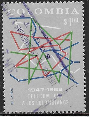 Colombia 775 Used - 20th Anniversary of TELECOM - Map of Communications Network