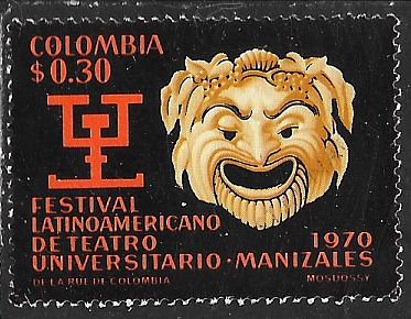 Colombia 790 Used - 3rd Latin America Theatrical Festival - Greek Mask