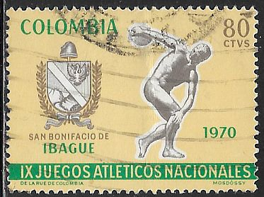 Colombia 792 Used - 9th National Games - Arms of Ibague & Discobolus
