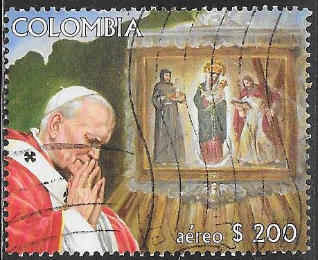 Colombia C764 Used - Visit of Pope John Paul II - Praying - Madonna of Bogota