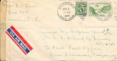 Canal Zone 105 & C7 Censored Cover to USS Richard M. Rowell - April 5, 1945